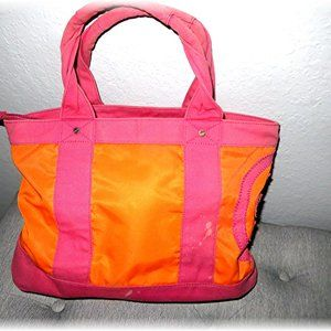 TORY BURCH Ella Pink and Orange Logo Canvas Tote